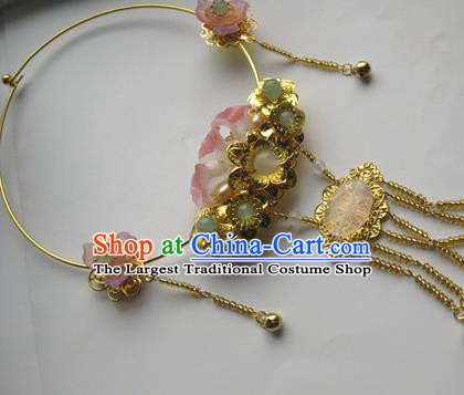 Traditional Chinese Handmade Pink Flowers Necklace Ancient Hanfu Jade Necklet Accessories for Women