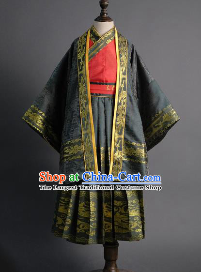 Traditional Chinese Children Embroidered Black Hanfu Clothing Compere Classical Dance Stage Performance Costume for Kids