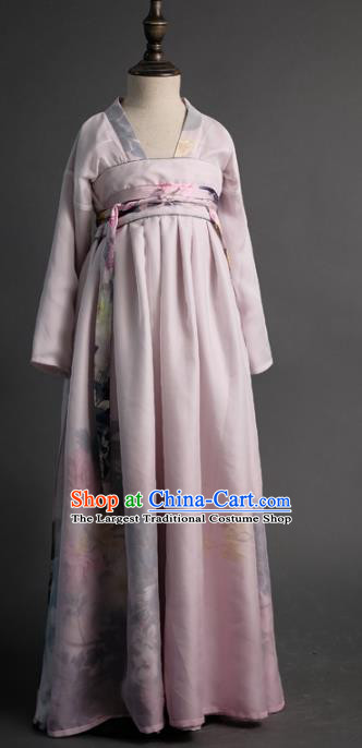 Traditional Chinese Girl Classical Dance Lilac Hanfu Dress Compere Stage Performance Costume for Kids