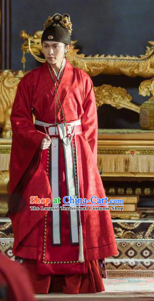 Chinese Ancient Drama Ming Dynasty Yingzong Emperor Zhu Qizhen Replica Costumes and Headpiece Complete Set