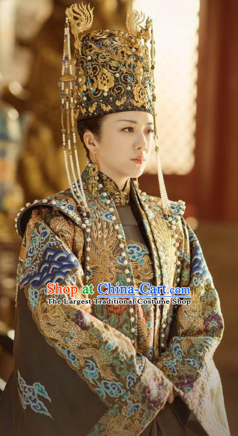 Chinese Ancient Drama Empress of the Ming Dynasty Sun Ruowei Tang Wei Replica Costumes and Headpiece Complete Set