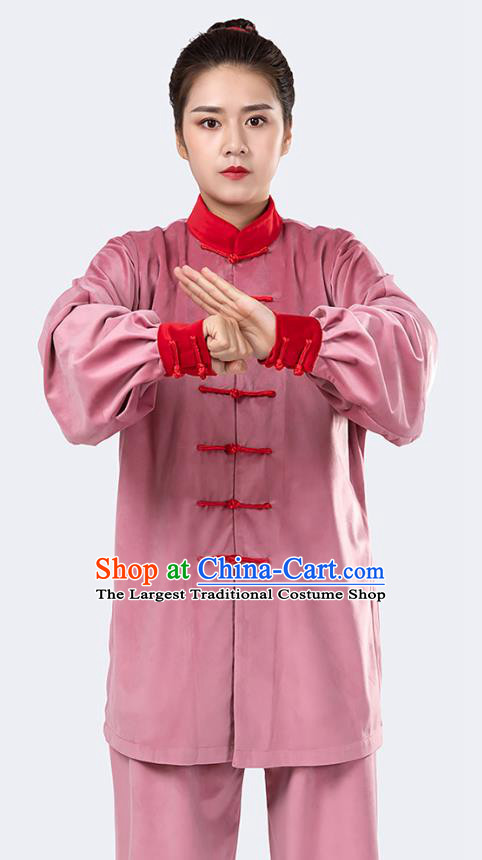 Traditional Chinese Tai Chi Competition Pink Velvet Outfits Martial Arts Stage Performance Costumes for Women