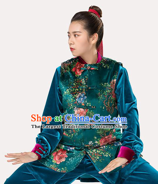 Traditional Chinese Tang Suit Green Vest Martial Arts Waistcoat Costume for Women
