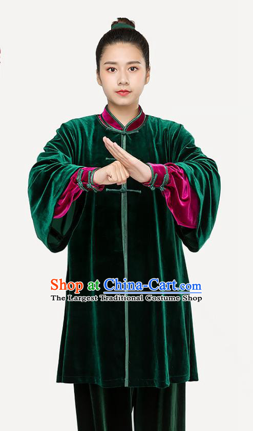 Traditional Chinese Tai Chi Competition Green Pleuche Outfits Martial Arts Stage Performance Costumes for Women