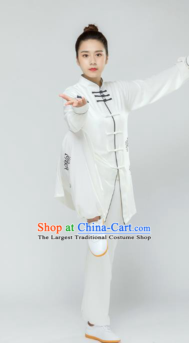 Traditional Chinese Tai Chi Competition White Outfits Martial Arts Stage Performance Costumes for Women