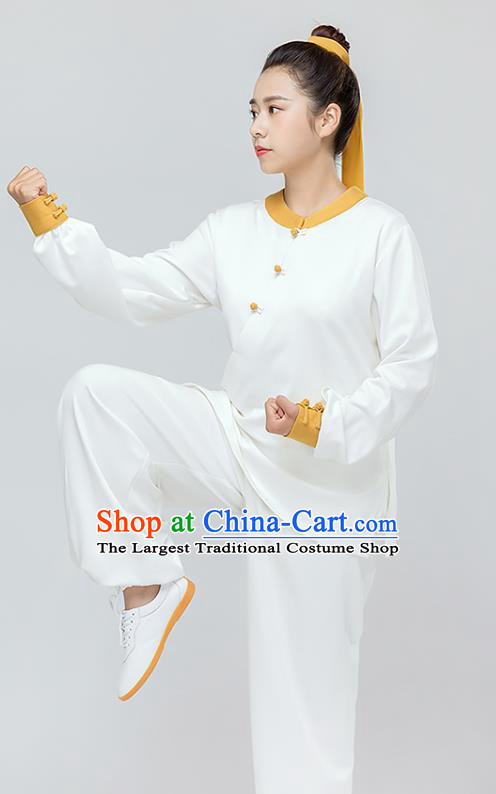 Traditional Chinese Tai Chi Kung Fu White Outfits Martial Arts Stage Performance Costumes for Women