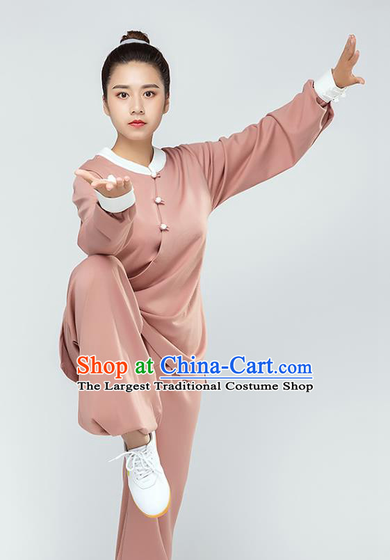 Traditional Chinese Tai Chi Kung Fu Deep Pink Outfits Martial Arts Stage Performance Costumes for Women