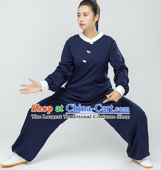 Traditional Chinese Tai Chi Kung Fu Navy Outfits Martial Arts Stage Performance Costumes for Women