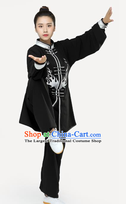 Top Tai Chi Kung Fu Black Outfits Chinese Traditional Martial Arts Stage Performance Costumes for Women