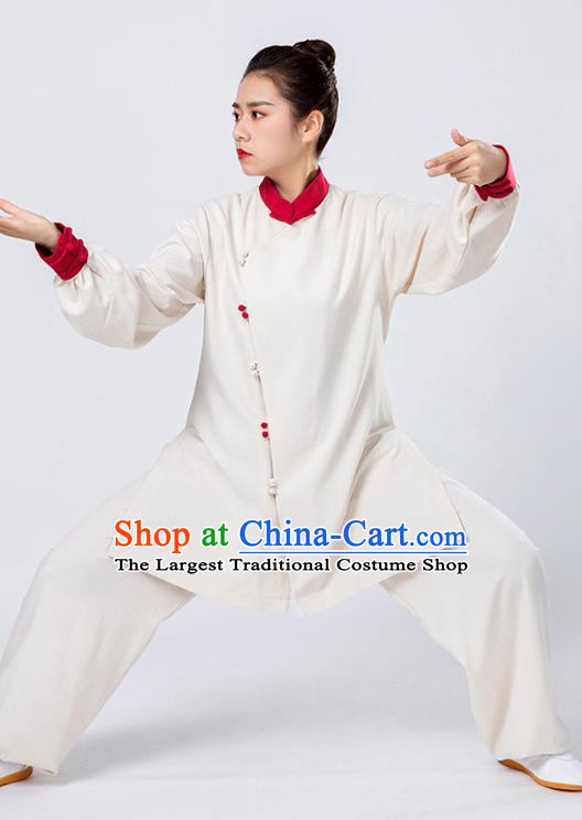 Top Tai Chi Kung Fu Beige Outfits Chinese Traditional Martial Arts Competition Costumes for Women