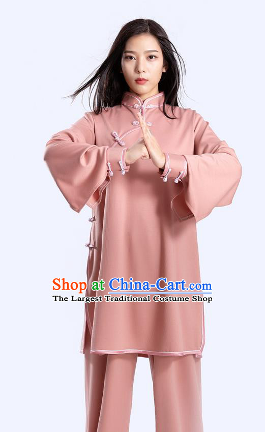 Top Tai Chi Kung Fu Competition Deep Pink Outfits Chinese Traditional Martial Arts Costumes for Women