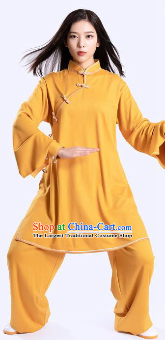 Top Tai Chi Kung Fu Competition Yellow Outfits Chinese Traditional Martial Arts Costumes for Women