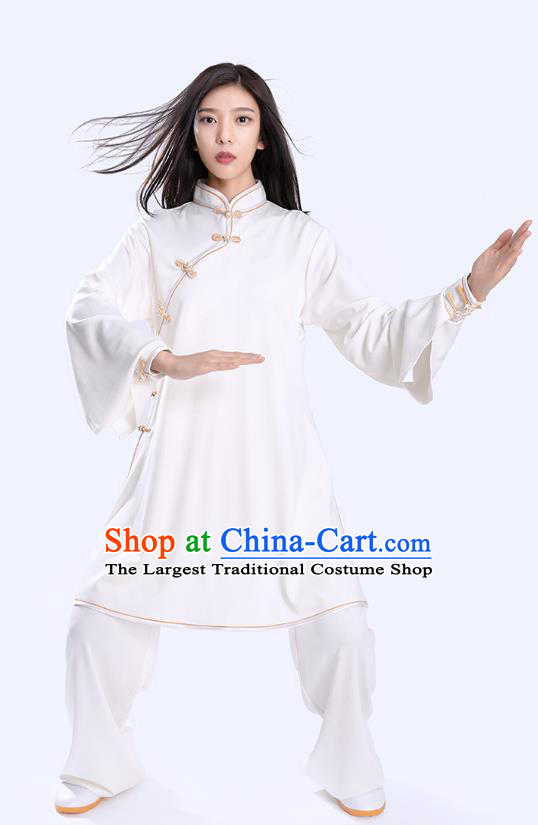Top Tai Chi Kung Fu Competition White Outfits Chinese Traditional Martial Arts Costumes for Women