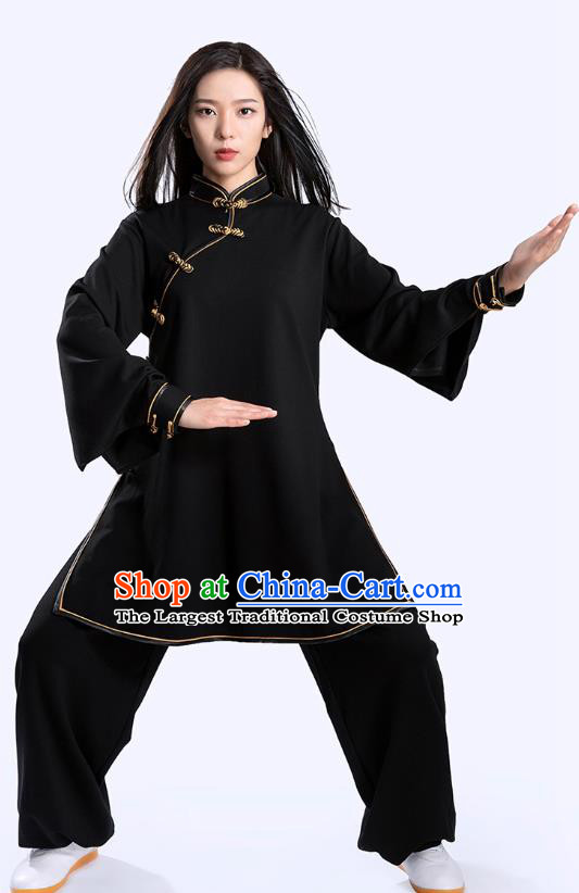 Top Tai Chi Kung Fu Competition Black Outfits Chinese Traditional Martial Arts Costumes for Women