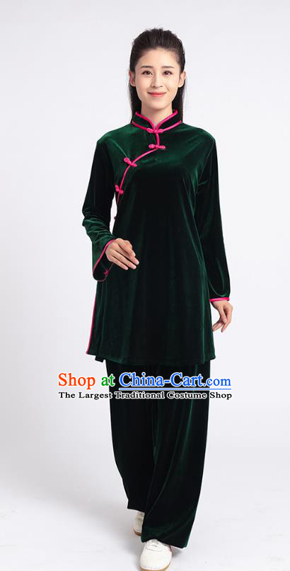 Top Tai Chi Kung Fu Competition Deep Green Pleuche Outfits Chinese Traditional Martial Arts Costumes for Women
