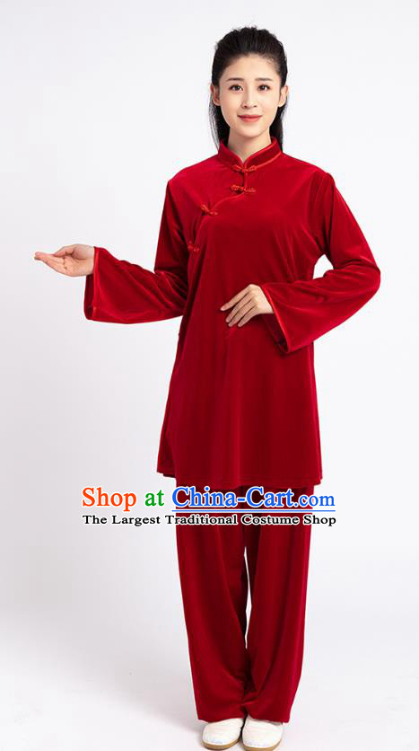 Top Tai Chi Kung Fu Competition Red Pleuche Outfits Chinese Traditional Martial Arts Costumes for Women