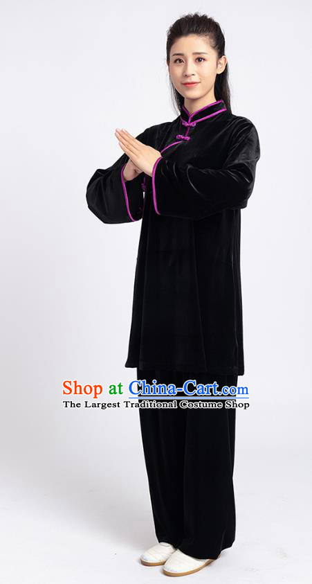 Top Tai Chi Kung Fu Competition Black Pleuche Outfits Chinese Traditional Martial Arts Costumes for Women