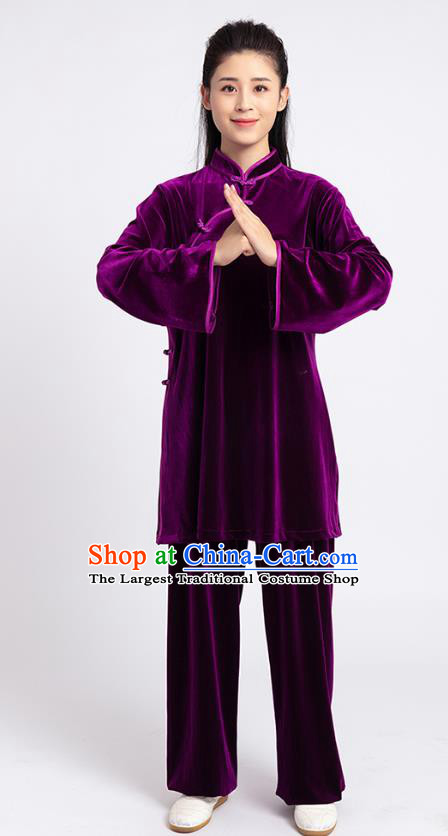 Top Tai Chi Kung Fu Competition Purple Pleuche Outfits Chinese Traditional Martial Arts Costumes for Women
