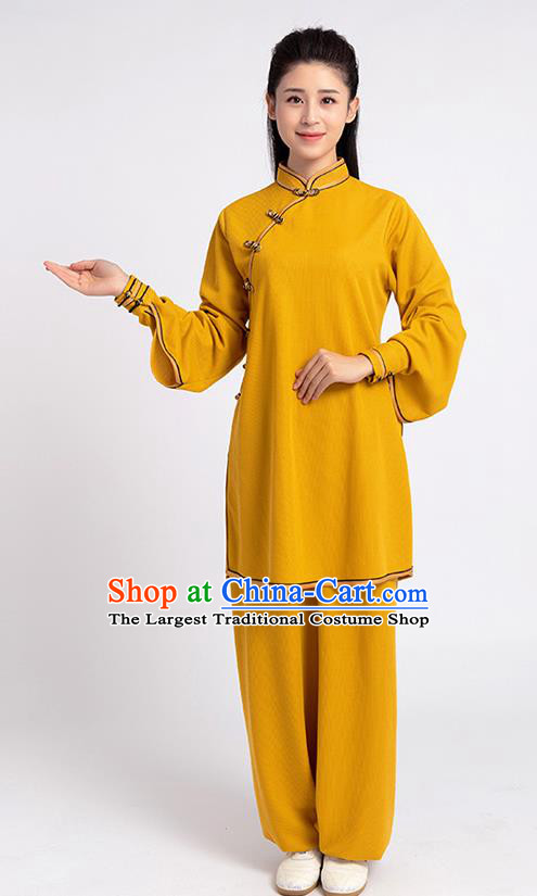 Top Chinese Tai Chi Kung Fu Yellow Outfits Traditional Martial Arts Competition Costumes for Women