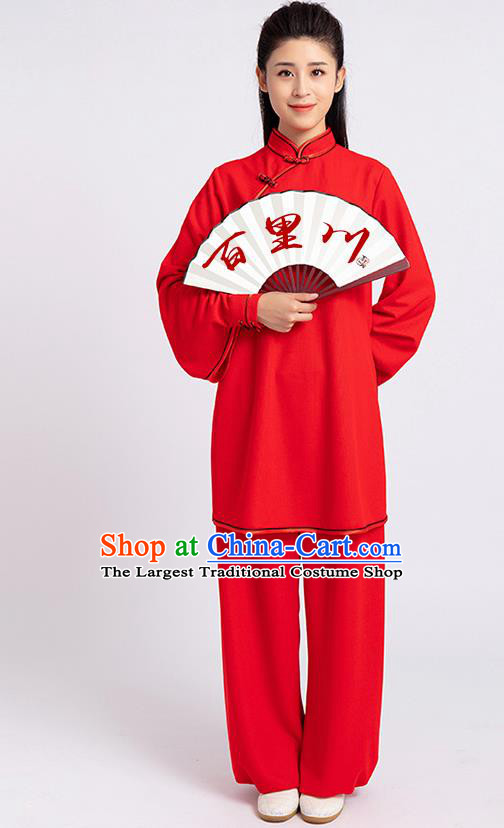 Top Chinese Tai Chi Kung Fu Red Outfits Traditional Martial Arts Competition Costumes for Women