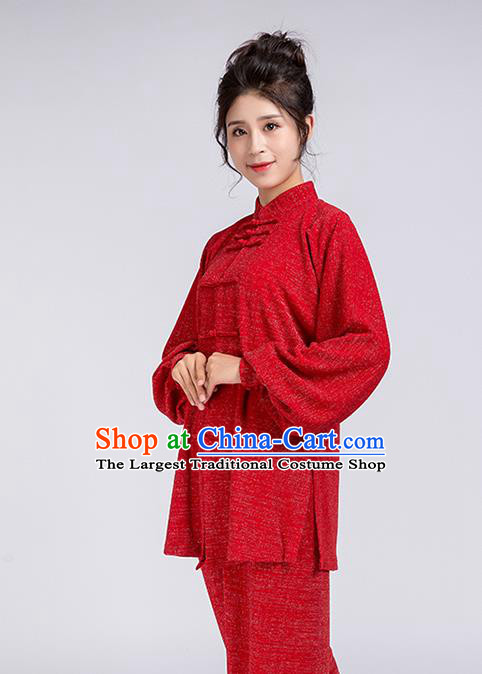 Top Chinese Tai Chi Training Red Outfits Traditional Kung Fu Martial Arts Competition Costumes for Women