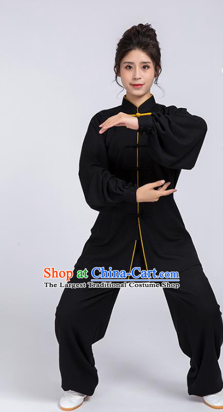 Top Chinese Tai Chi Chuan Training Black Outfits Traditional Kung Fu Martial Arts Competition Costumes for Women
