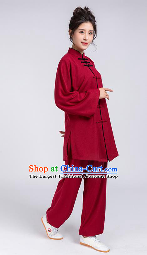 Top Chinese Tai Chi Chuan Training Wine Red Outfits Traditional Kung Fu Martial Arts Competition Costumes for Women