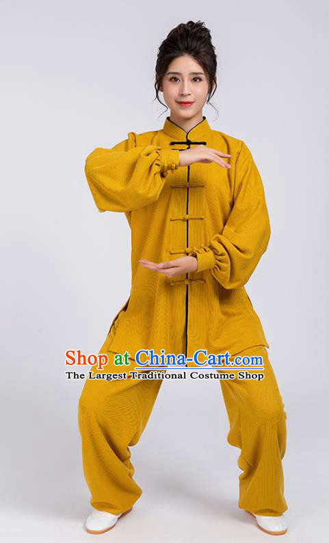 Top Chinese Tai Chi Chuan Training Ginger Outfits Traditional Kung Fu Martial Arts Competition Costumes for Women
