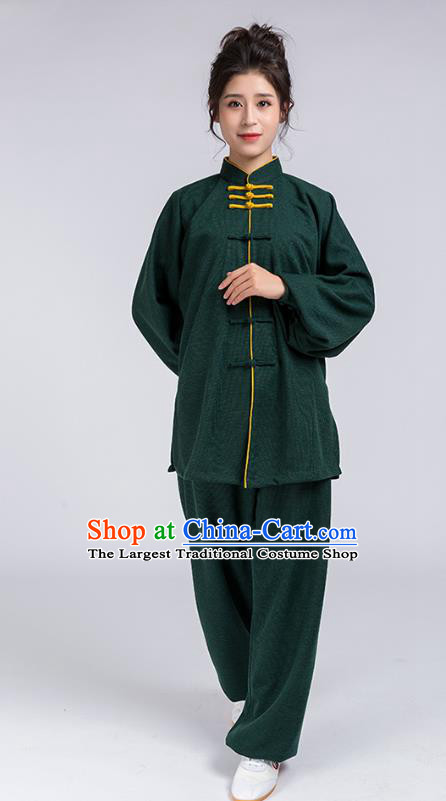 Top Chinese Tai Chi Chuan Training Atrovirens Outfits Traditional Kung Fu Martial Arts Competition Costumes for Women