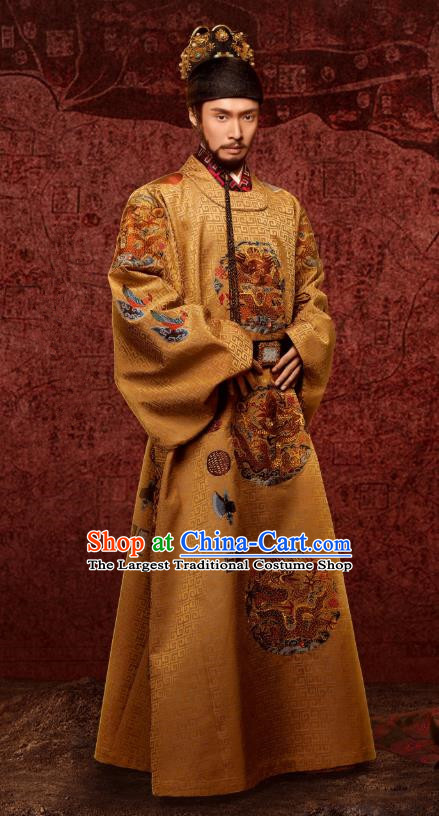 Chinese Ancient Drama Ming Dynasty Yingzong Emperor Imperial Robe Zhu Qizhen Lay Zhang Replica Costumes and Headpiece Complete Set
