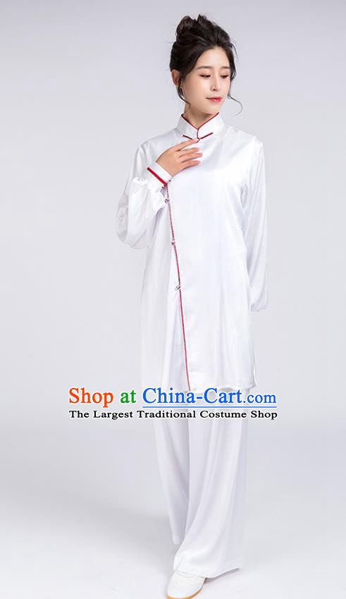 Top Chinese Martial Arts Red Edge Outfits Traditional Tai Chi Kung Fu Training Costumes for Women
