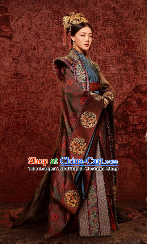 Chinese Ancient Ming Dynasty Queen Hu Shanxiang Drama Empress of the Ming Replica Costumes and Headpiece for Women