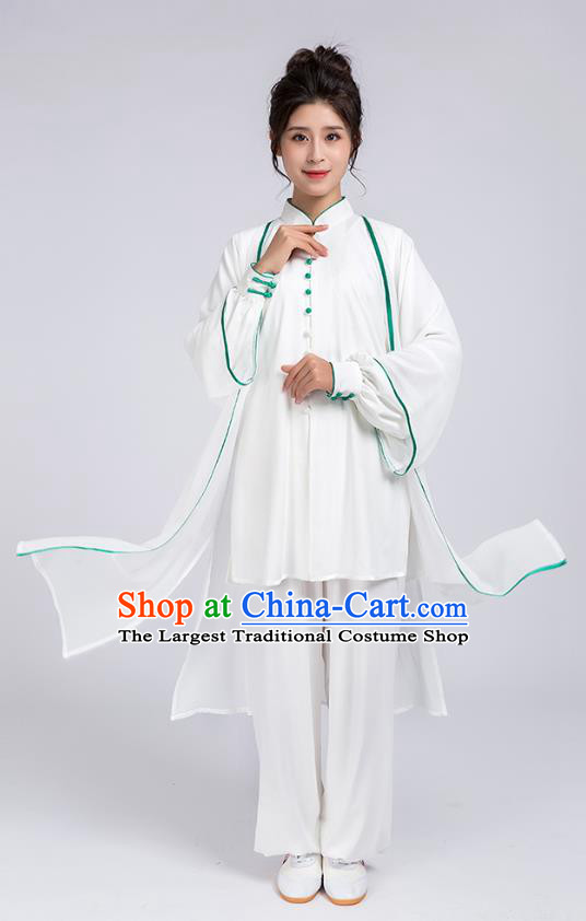 Top Chinese Martial Arts Green Edge Outfits Traditional Tai Chi Kung Fu Training Costumes for Women