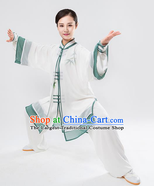 Top Chinese Martial Arts Printing Bamboo Green Outfits Traditional Tai Chi Kung Fu Training Costumes for Women