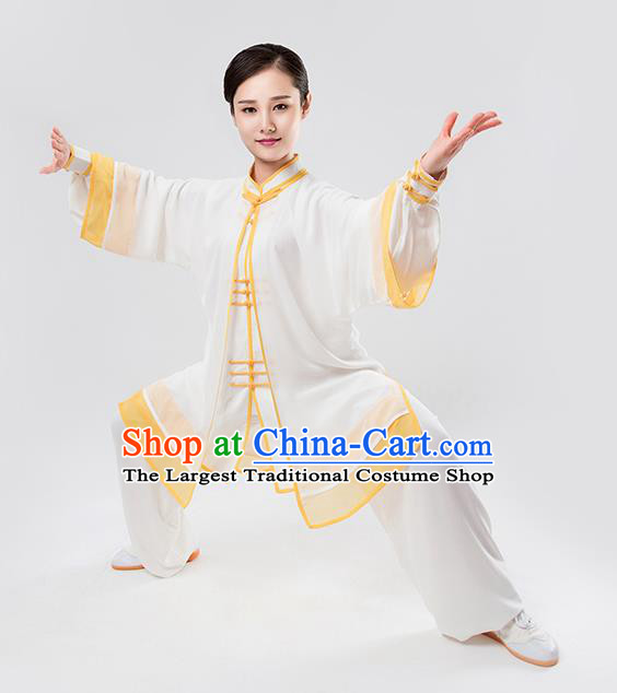 Top Chinese Martial Arts Printing Yellow Outfits Traditional Tai Chi Kung Fu Training Costumes for Women