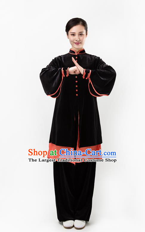 Top Chinese Martial Arts Black Pleuche Outfits Traditional Tai Chi Kung Fu Training Costumes for Women