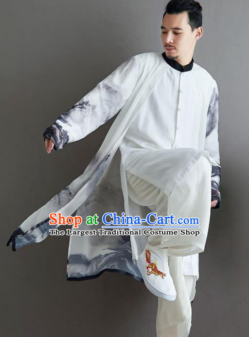 Top Chinese Ink Painting Chiffon Tang Suit Outfits Traditional Tai Chi Kung Fu Costumes for Men