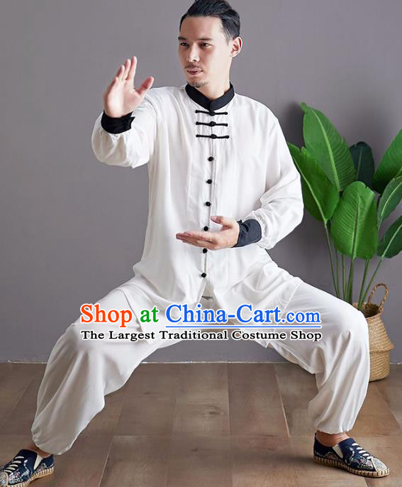 Chinese Martial Arts White Outfits Traditional Tai Chi Kung Fu Training Costumes for Men