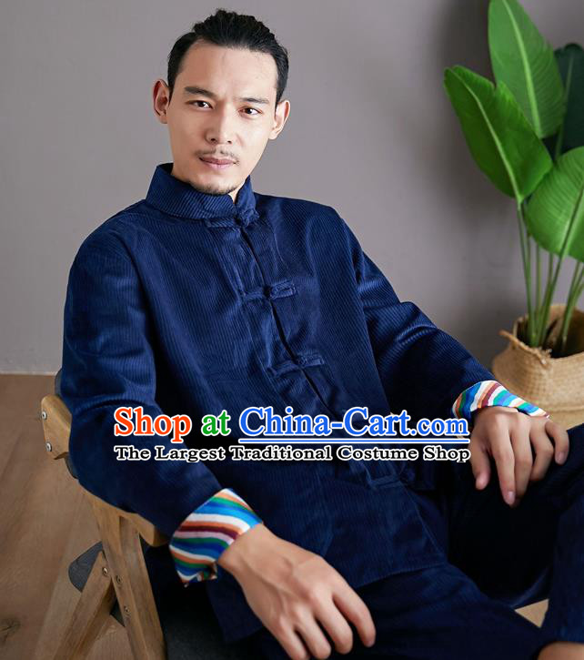 Chinese Martial Arts Deep Blue Corduroy Outfits Traditional Tai Chi Kung Fu Training Costumes for Men