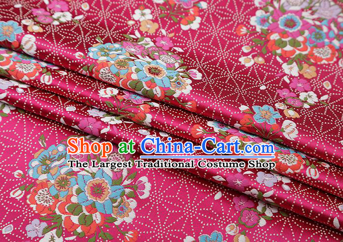 Chinese Traditional Snowflake Flowers Pattern Rosy Brocade Fabric Cheongsam Satin Tapestry Drapery