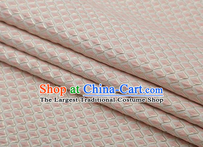 Chinese Traditional Rhomboids Pattern Pink Brocade Fabric Cheongsam Satin Tapestry Drapery