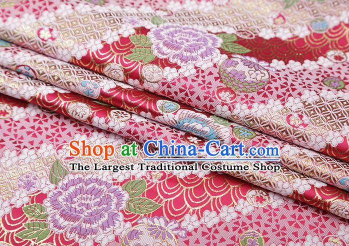 Chinese Traditional Peony Pattern Rosy Brocade Fabric Cheongsam Satin Tapestry Drapery