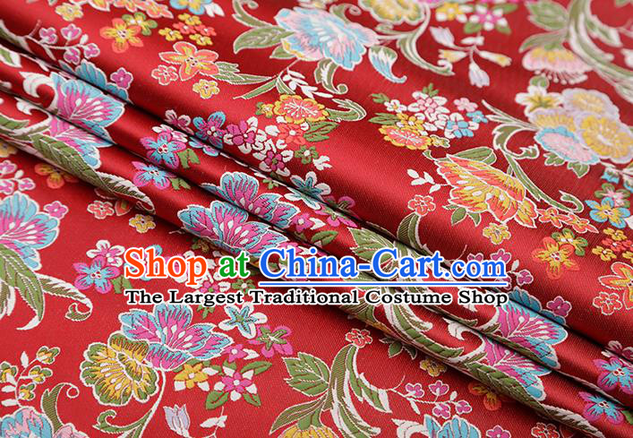 Chinese Traditional Phalaenopsis Pattern Purplish Red Brocade Fabric Cheongsam Satin Tapestry Drapery