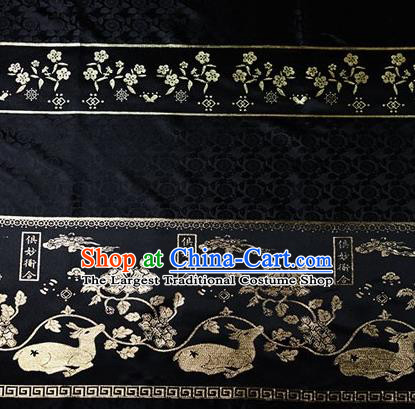 Chinese Traditional Flowers Deer Pattern Design Black Brocade Fabric Hanfu Dress Satin Tapestry Drapery