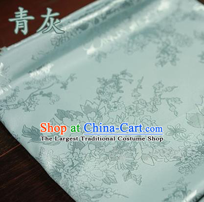 Chinese Traditional Peony Pattern Design Green Brocade Fabric Hanfu Dress Satin Tapestry Drapery