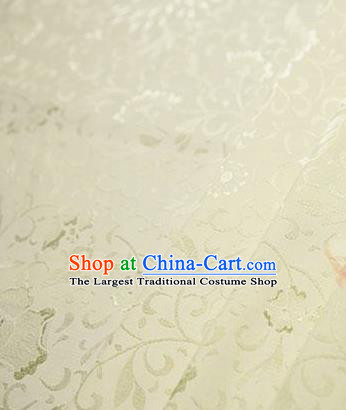 Chinese Traditional Little Flowers Pattern Design Light Yellow Brocade Fabric Hanfu Dress Satin Tapestry Drapery