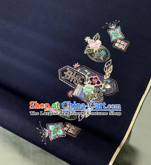 Chinese Classical Embroidered Pattern Design Navy Silk Fabric Asian Traditional Hanfu Brocade Material