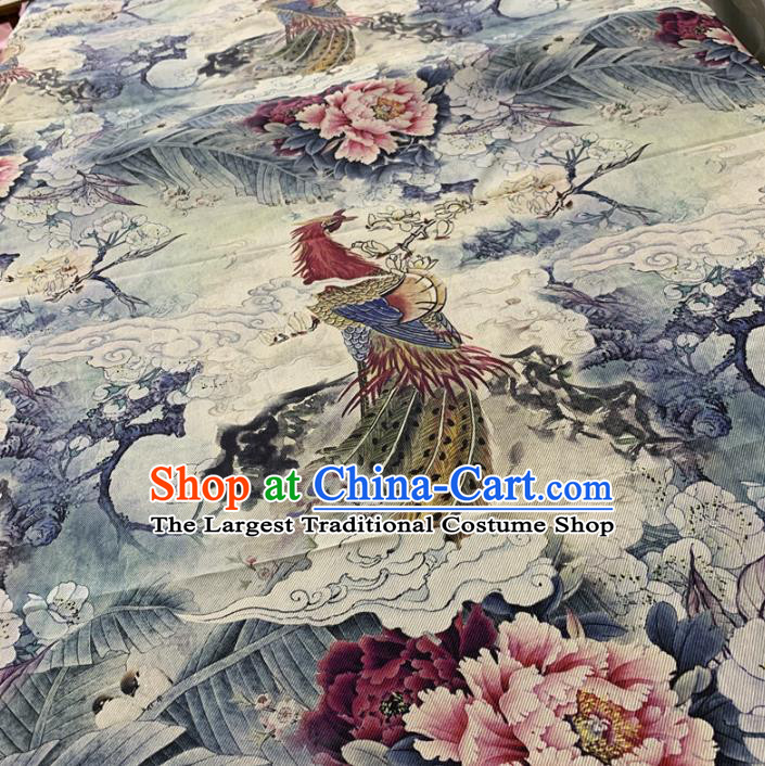 Chinese Traditional Mangnolia Phoenix Peony Design Pattern White Silk Fabric Cheongsam Mulberry Silk Drapery