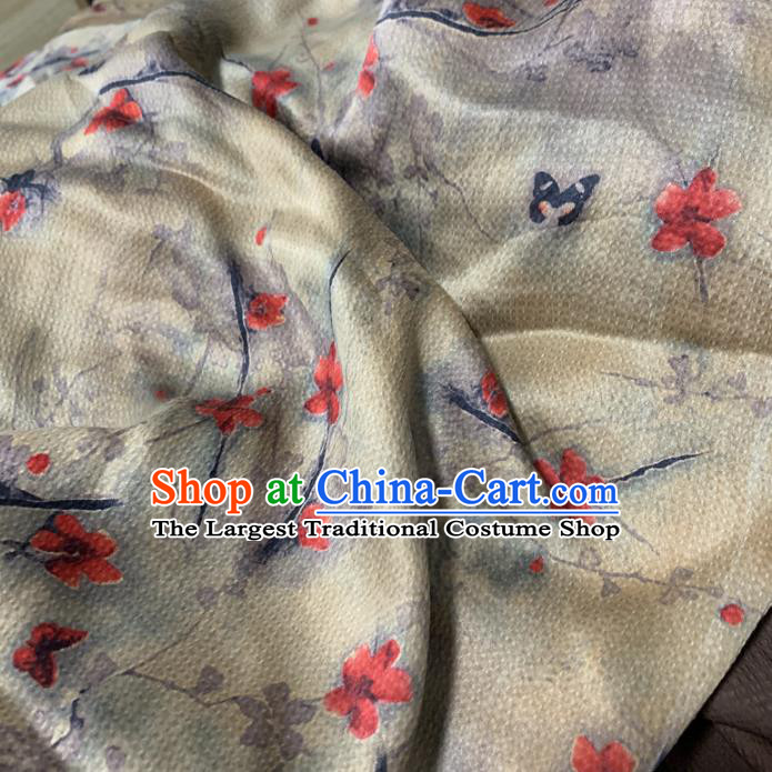 Chinese Traditional Red Flower Design Pattern Silk Fabric Cheongsam Mulberry Silk Drapery