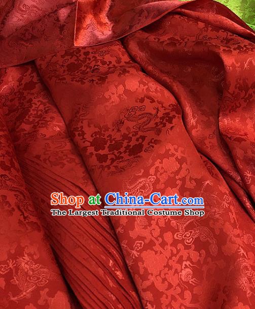 Chinese Traditional Jacquard Dragon Design Pattern Red Silk Fabric Cheongsam Mulberry Silk Drapery